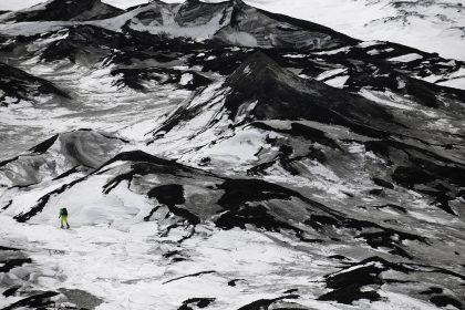 Photographer Martin Hartley scaling Russia's Klyuchevskaya Volcano, the highest active volcano in Eurasia, 2012