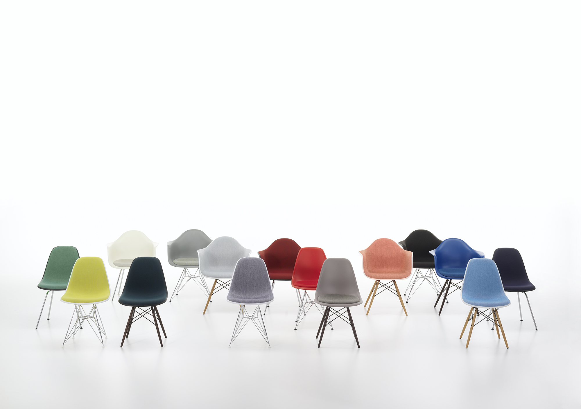 An installation of Eames chairs in Clerkenwell