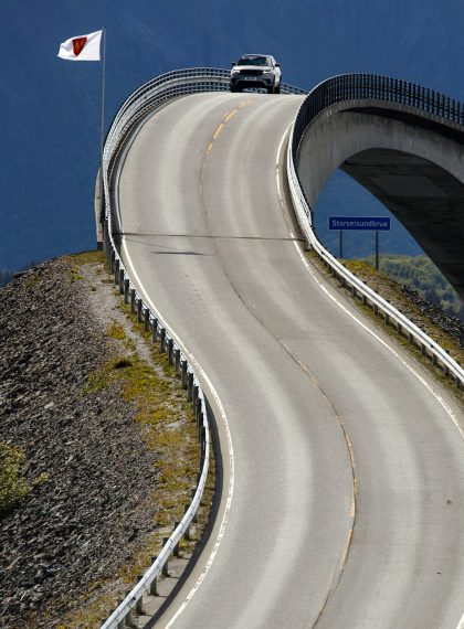 The Range Rover Velar takes on the Storseisundbrua Atlantic Highway in Norway with ease