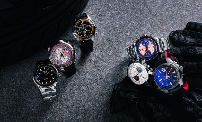 Clockwise from left Roadmaster GMT, £2,680, BALL WATCH CO; Mille Miglia, £5,520, CHOPARD; BR126 Renault Sport, £3,350, BELL & ROSS; Heritage chrono blue, £3,160, TUDOR; B55 Connected, £6,910, BREITLING FOR BENTLEY; Jaguar MKII, £5,195, BREMONT
