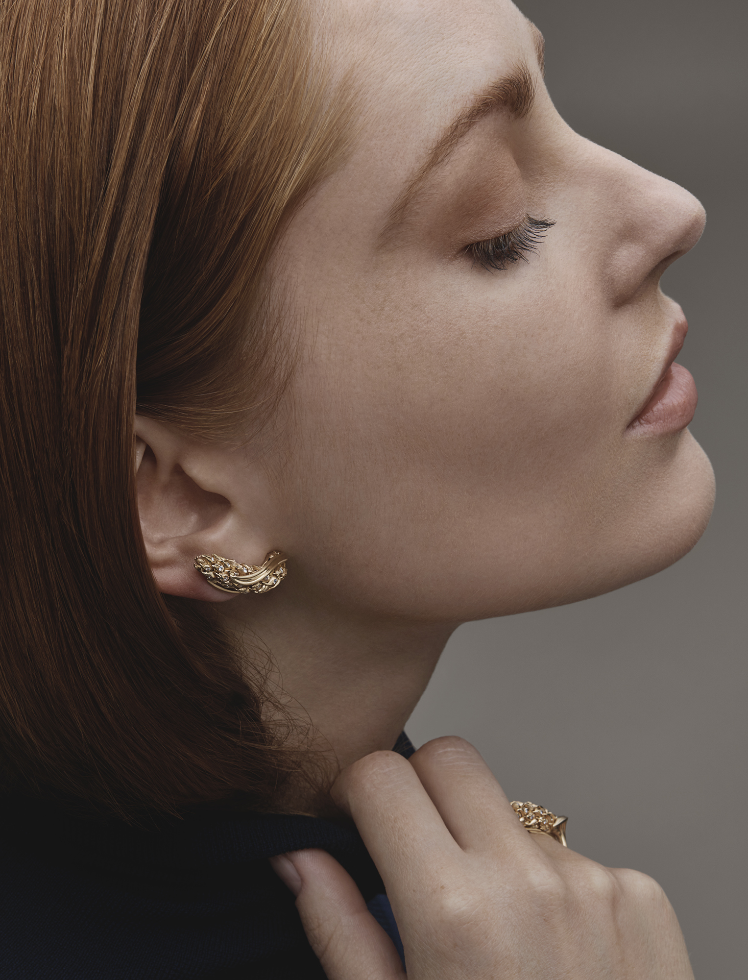 Cashmere turtle neck, £75, DAKS; L'Epi de Blé earrings, £14,000, L'Epi de Blé ring, £8,080, in yellow gold and brilliant-cut diamonds, both CHAUMET