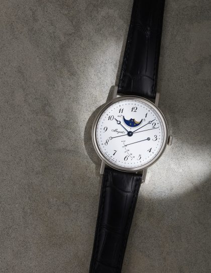Classique Moon Phase 7787 with 18ct white gold case, £22,700, BREGUET