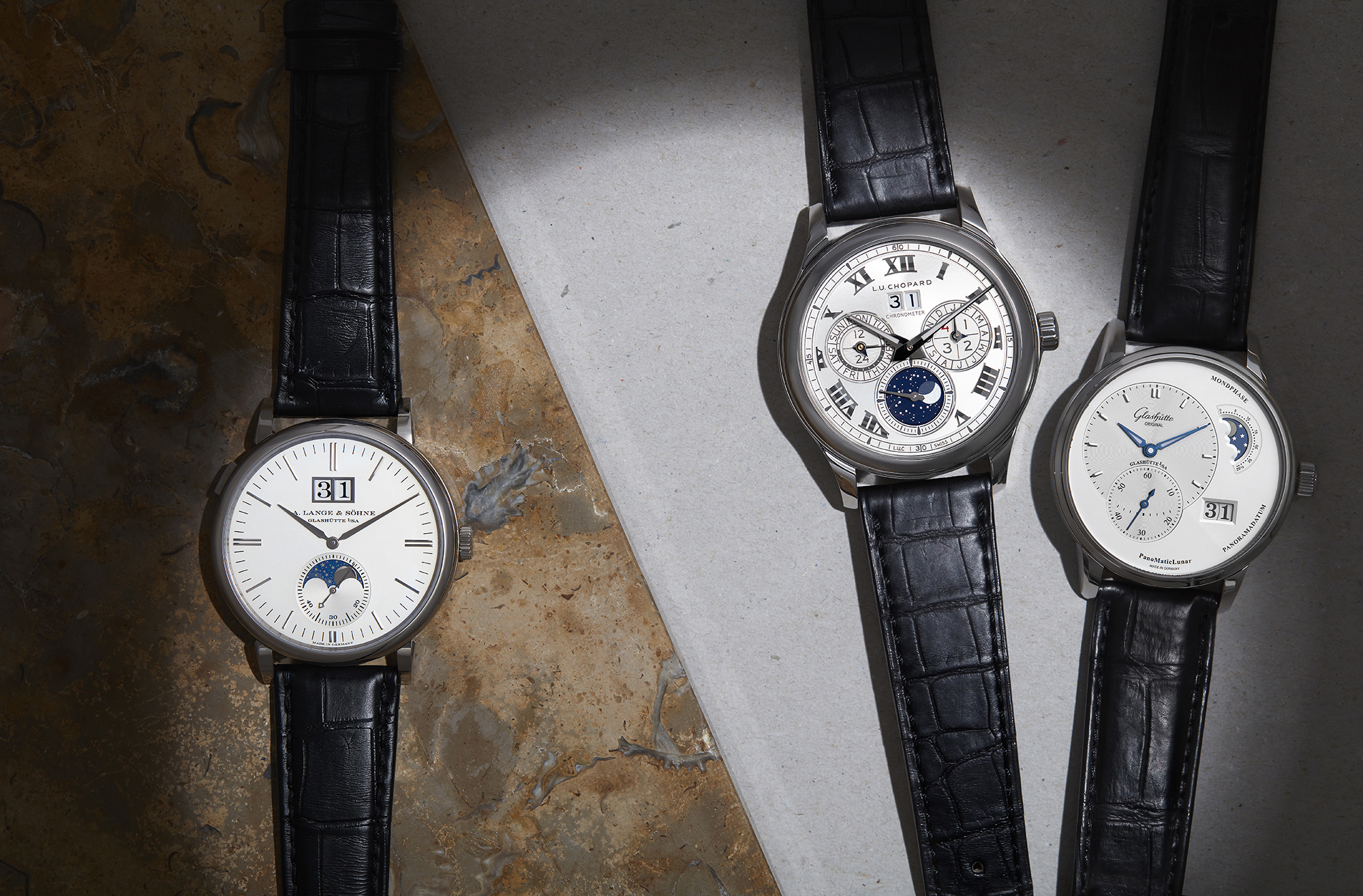 From left to right: Saxonia Moonphase, £24,500, A LANGE & SOHNE; L.U.C Lunar One in white gold on black alligator strap, £46,550, CHOPARD; Original PanoMaticLunar, £7,600, GLASHÜTTE