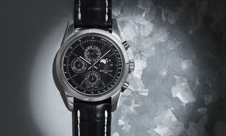 Transocean Chronograph 1461 in steel on black croc leather strap, £7,840, BREITLING