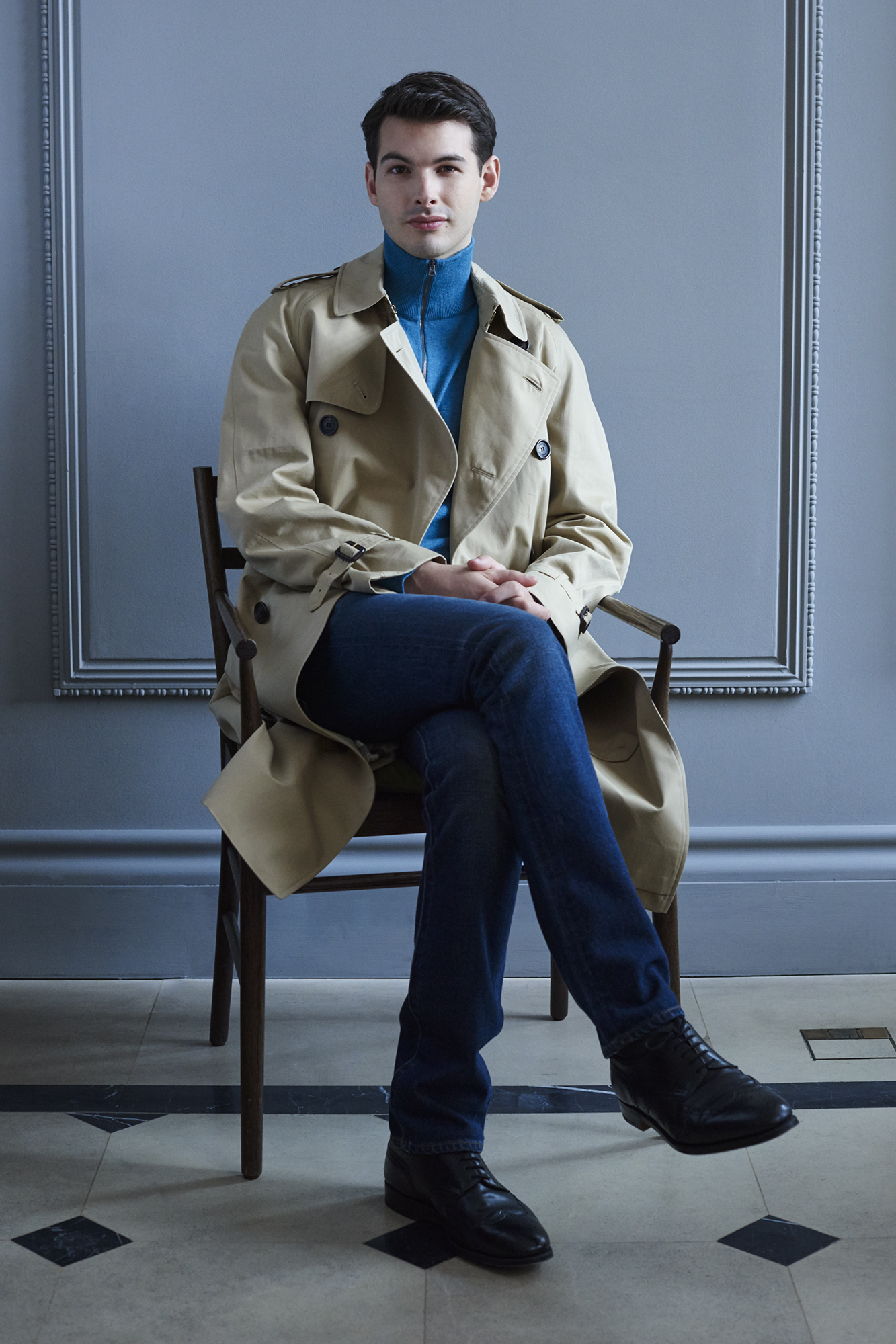 Westminster trench,£1,395; cashmere sweater, £295; straight-fit jeans, £250