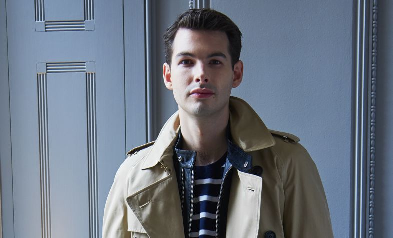 Trench, £1,395; leather biker jacket, £1,595; cotton T-shirt, £235; straight-fit jeans, £250