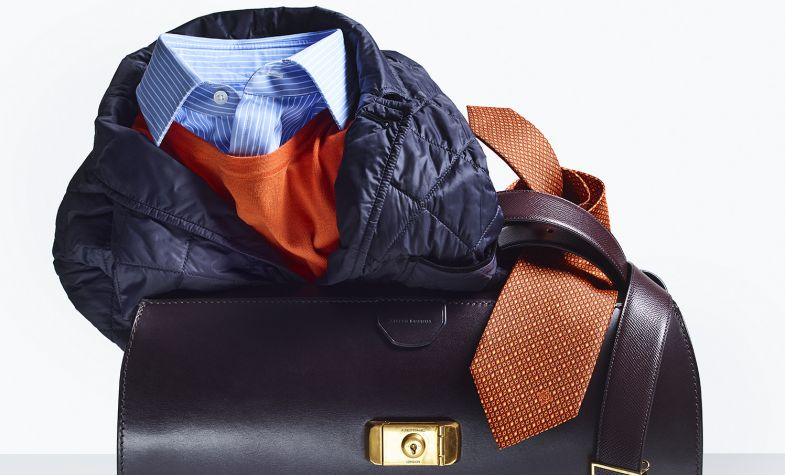 Wolsley bag, £3,395; quilted blazer, £695; crew neck, £275; stripe shirt, £195; leather belt, £230; tie, £125