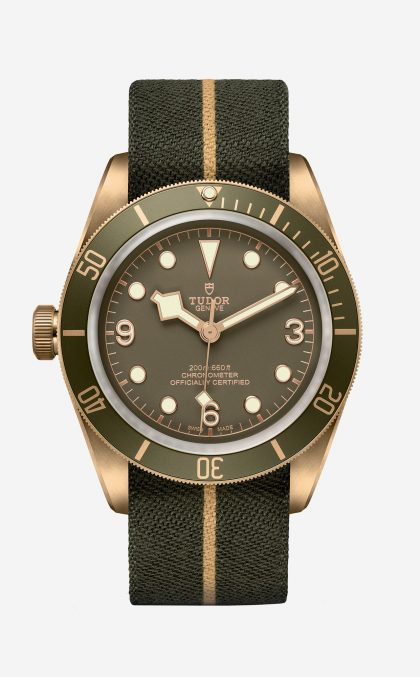 Tudor's Black Bay Bronze One, as a lefthander;