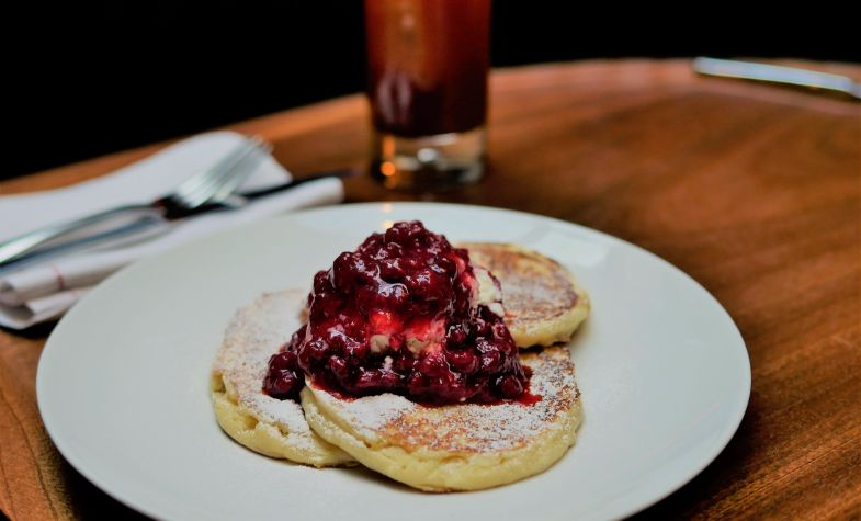 Ricotta Pancakes with Berry Compote - Merchants Tavern
