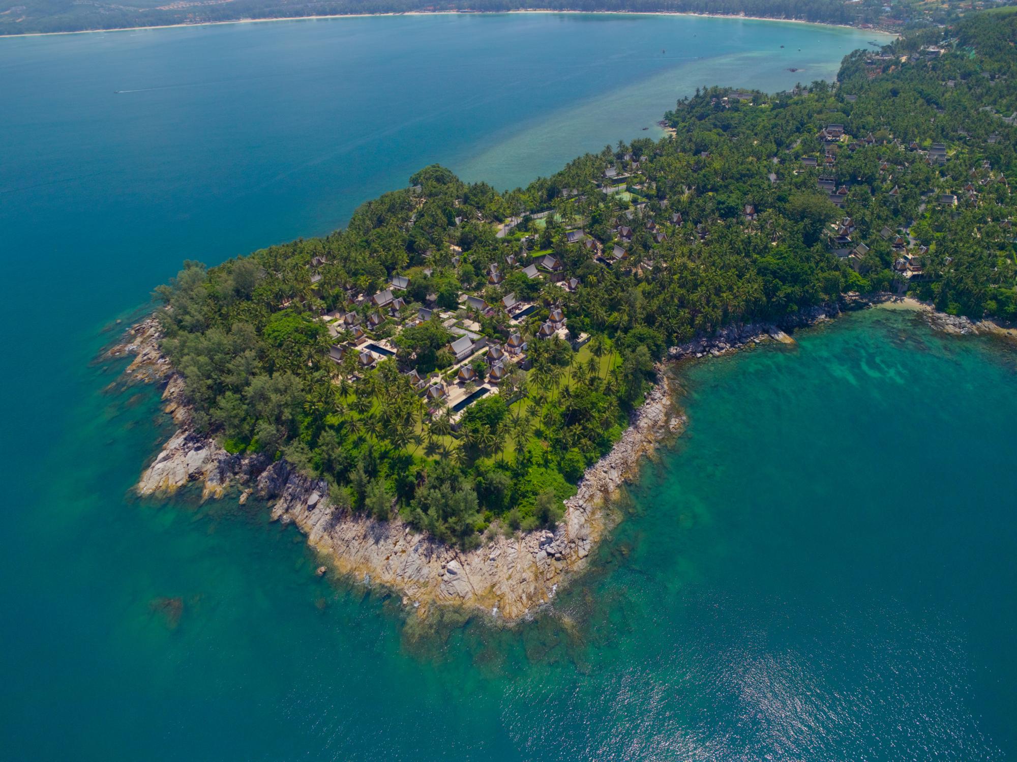 An aerial shot of Amanpuri Phuket