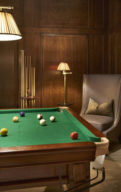 The pool room at private members' club Ten Trinity Square