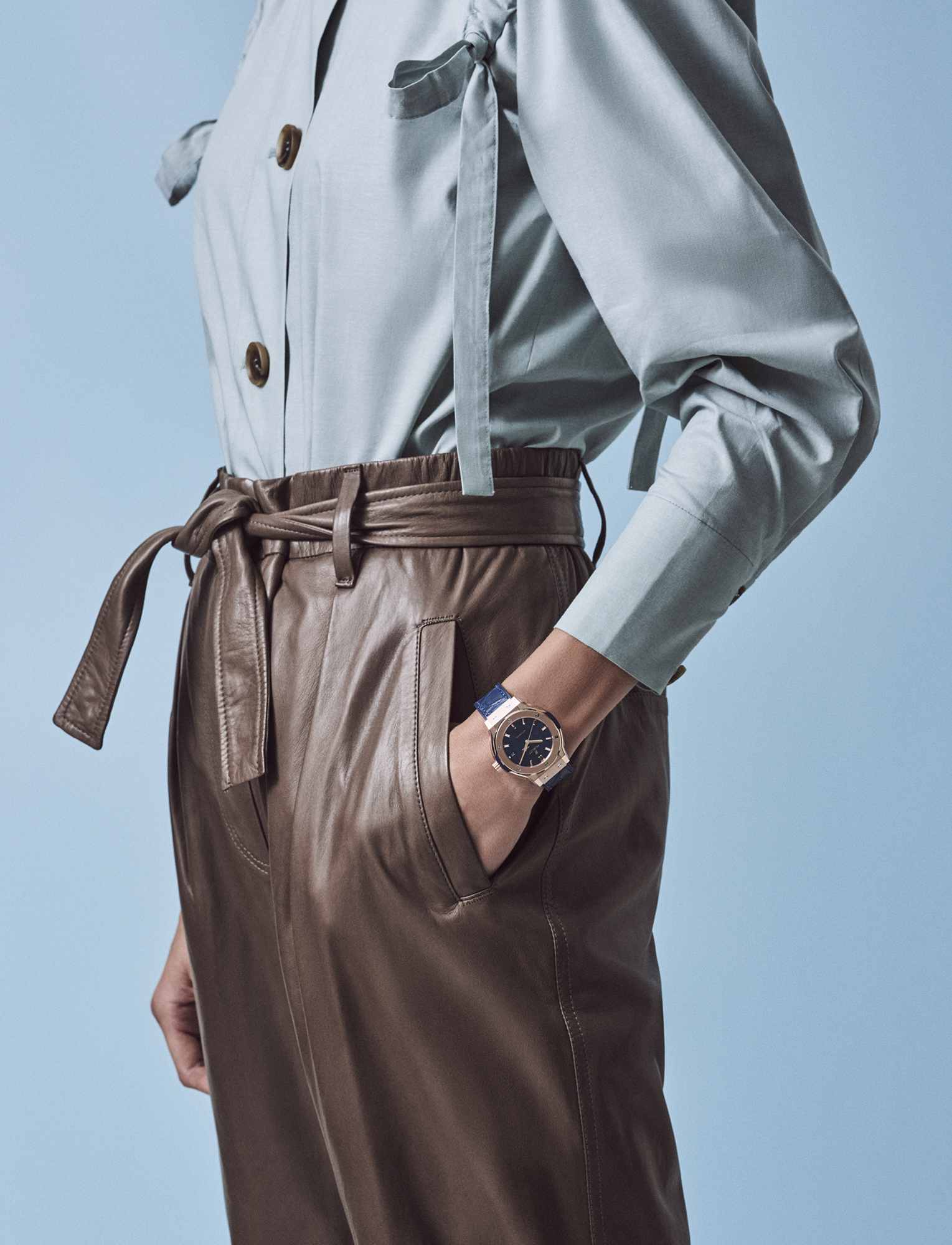 Cotton jacket, £295, REJINA PYO AT HARVEY NICHOLS; leather trousers, £2,930, BRUNELLO CUCINELLI; Classic Fusion King Gold Blue watch, 38mm with blue alligator strap, £14,700, HUBLOT