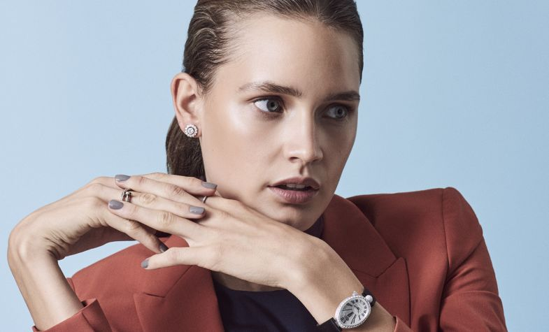 Wool blazer, £580, satin top, £350, PAUL SMITH; studs in 18ct white gold and diamonds, £9,500, DAVID MORRIS; ring in white gold, £2,090, CARTIER; ring in platinum with diamonds, £2,700, HOUSE OF GARRARD; Reine de Naples 8928 watch in white gold and brilliant-cut diamonds, £27,100, BREGUET