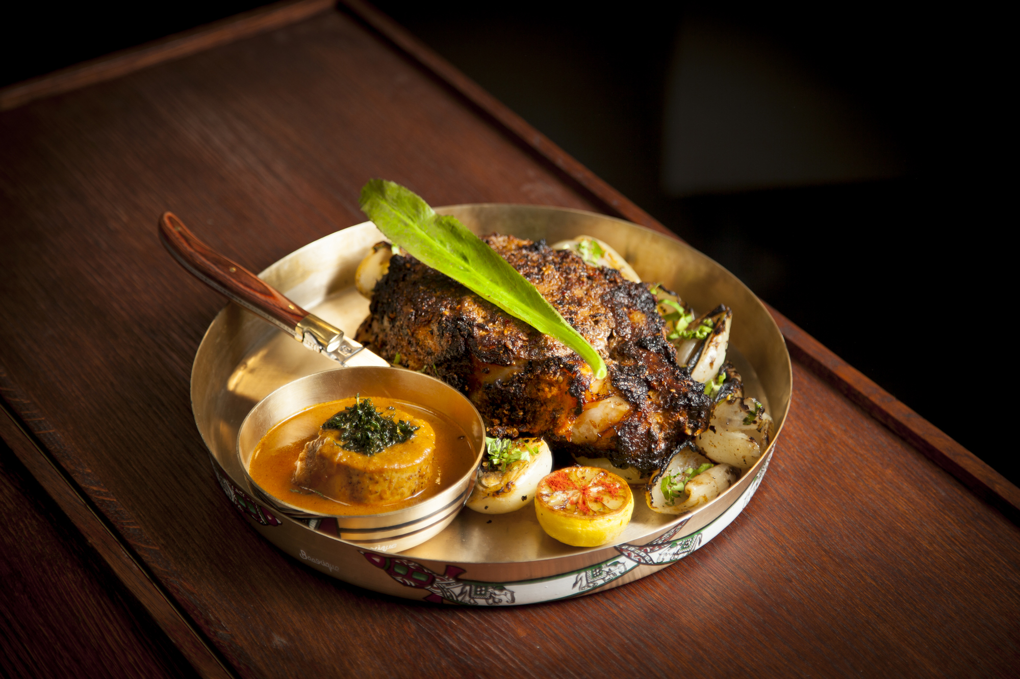 Dry tandoori masala rib eye steak at Brigadiers