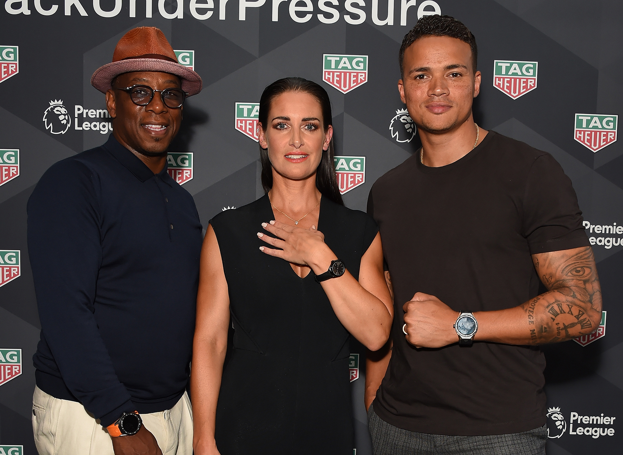 Kirsty Gallacher, Jermaine Jenas, Ian Wright and Rob Diver attend the TAG Heuer announcement of the extension of its partnership as Official Timekeeper to The Premier League