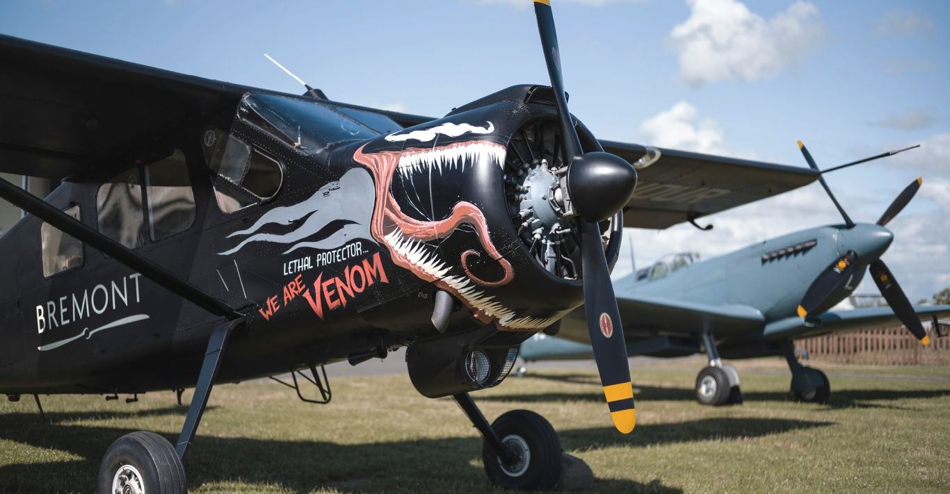 The Bremont Brothers' custom painted Broussard features Venom artwork by comic artist Adi Granov