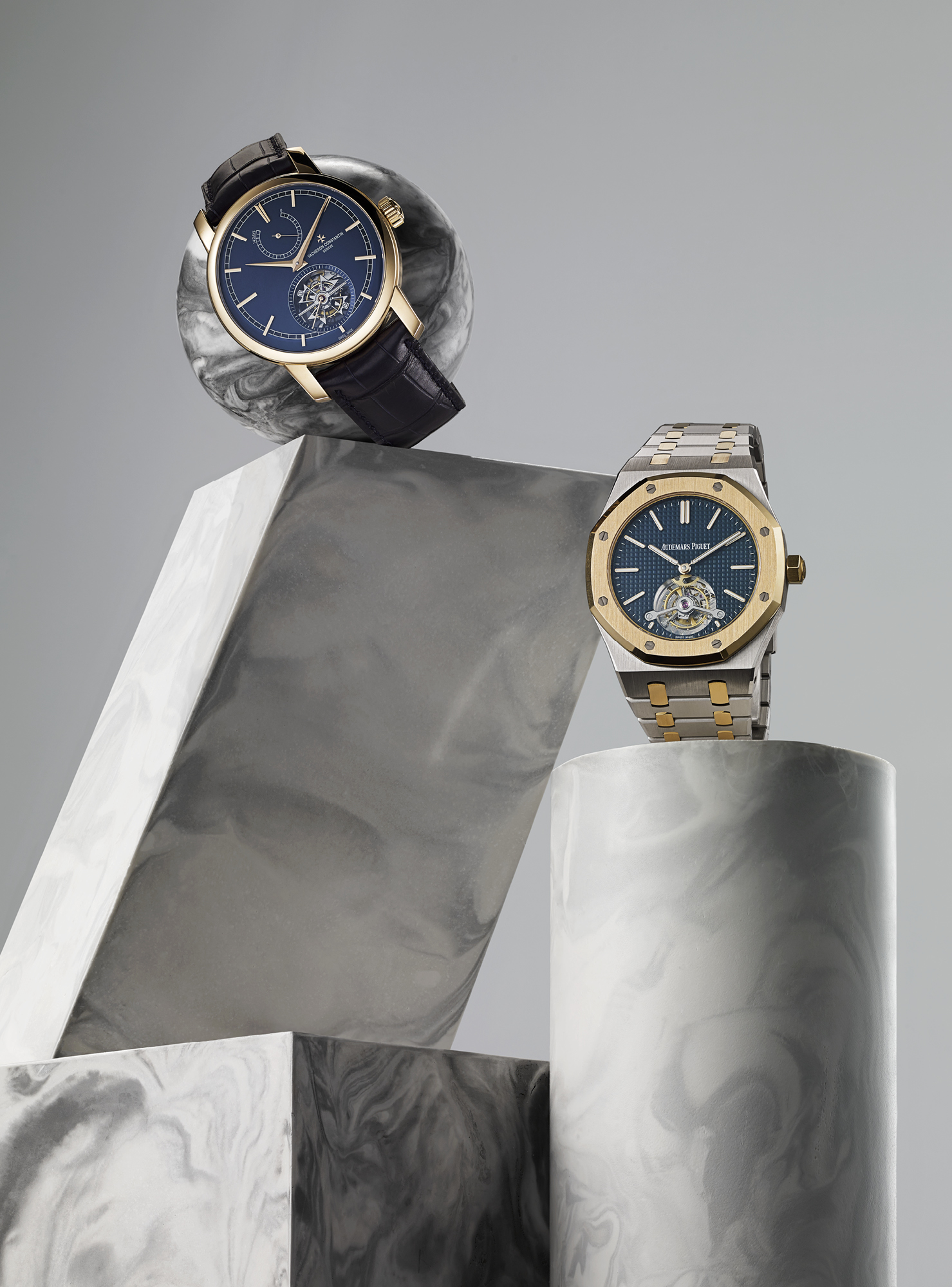 Bucherer Blue Editions - From left: Traditionnelle Tourbillon 42mm rose gold manual, £238,000, VACHERON CONSTANTIN; Royal Oak Tourbillon 41mm stainless steel, £131,100, AUDEMARS PIGUET