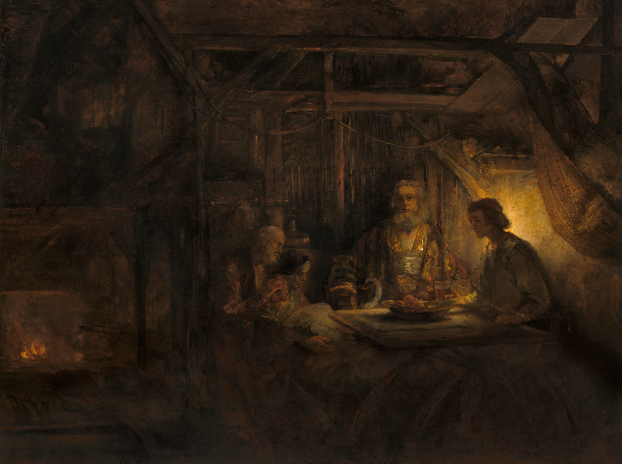 Rembrandt van Rijn, Philemon and Baucis, 1658, oil on panel transferred to panel, National Gallery of Art, Washington