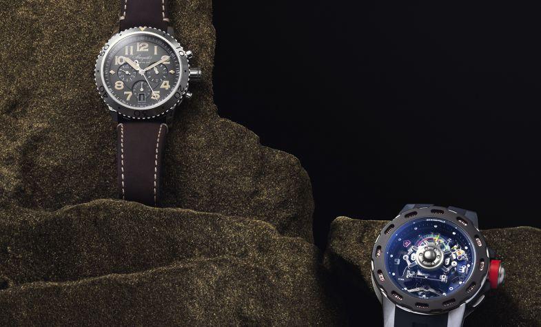 Above left: Breguet Type XXI, £10,400. Above right: RICHARD MILLE RM36-01 Tourbillon Competition G-Sensor, £591,000