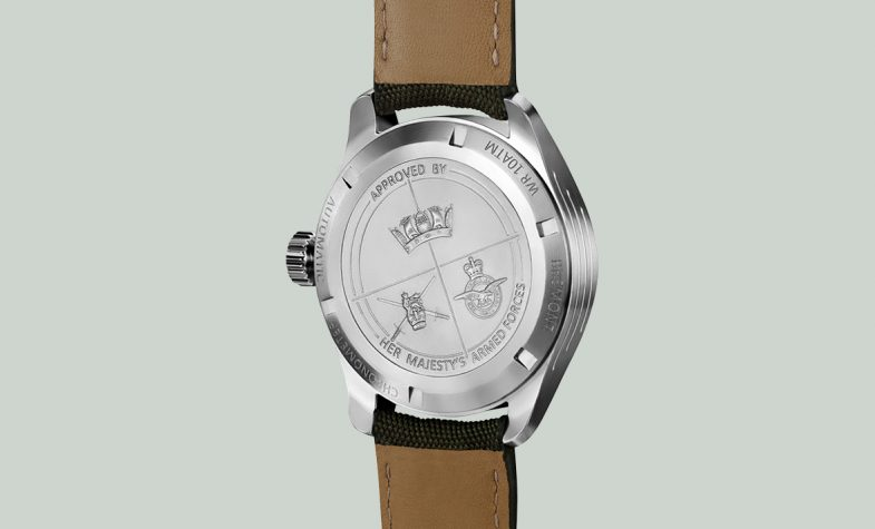The stainless-steel caseback of the Bremont Broadsword, engraved with the Armed Forces Heraldic badges
