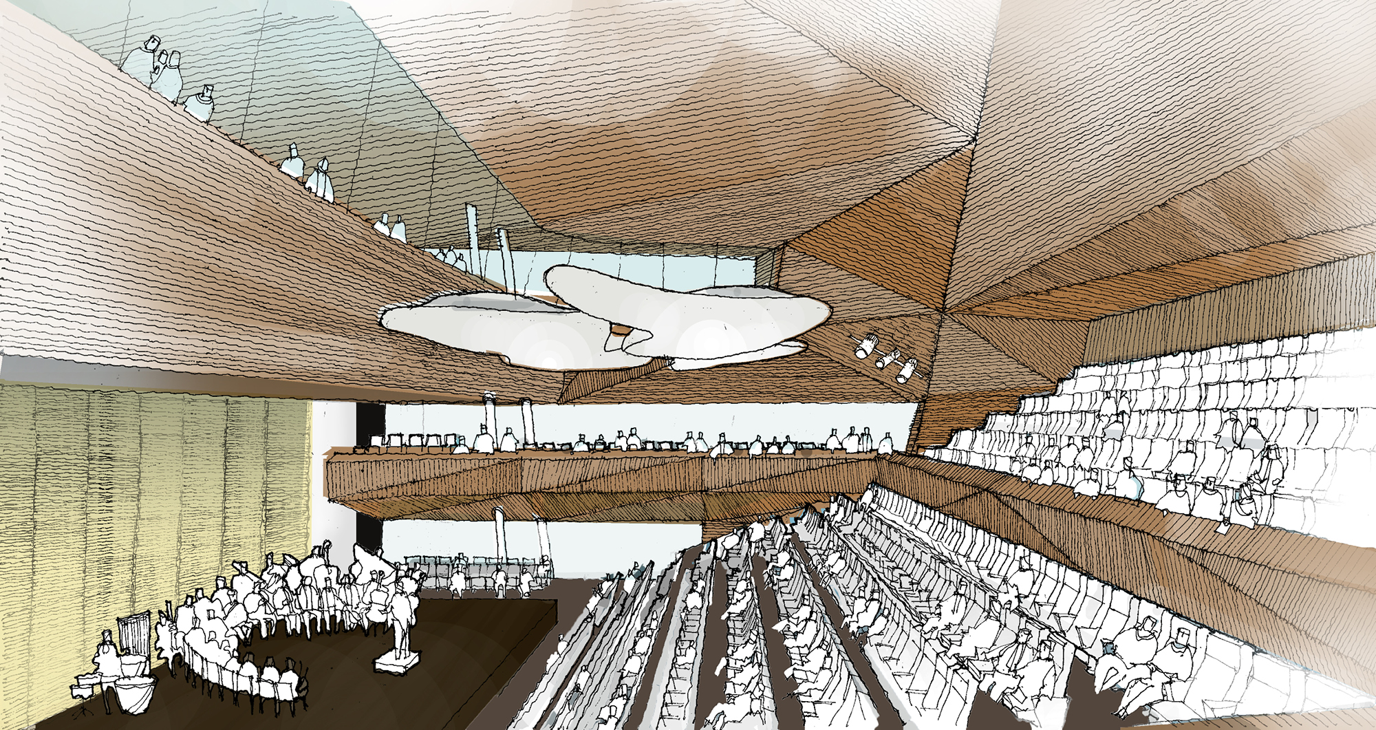 A sketch of the interior of Andermatt Concert Hall
