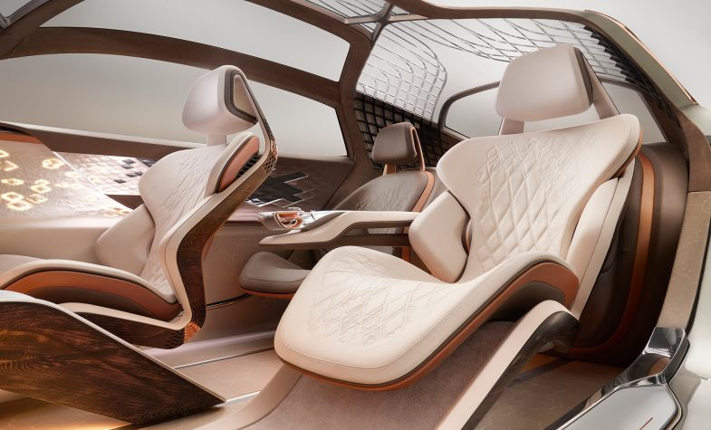 The interior of the Bentley EXP 100 GT has been designed to enhance the wellbeing of passengers