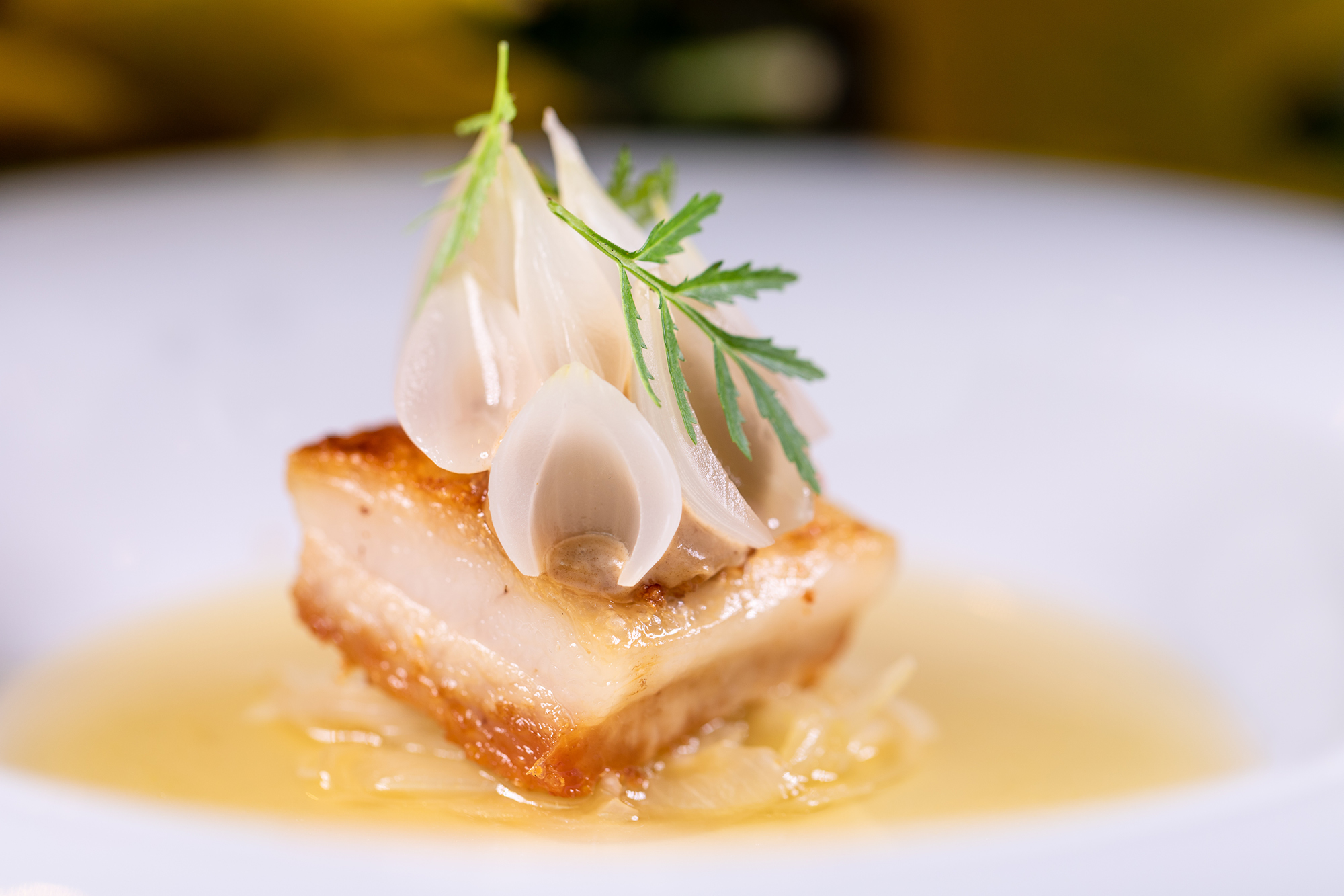 Pork jowl and onions at The Westbury