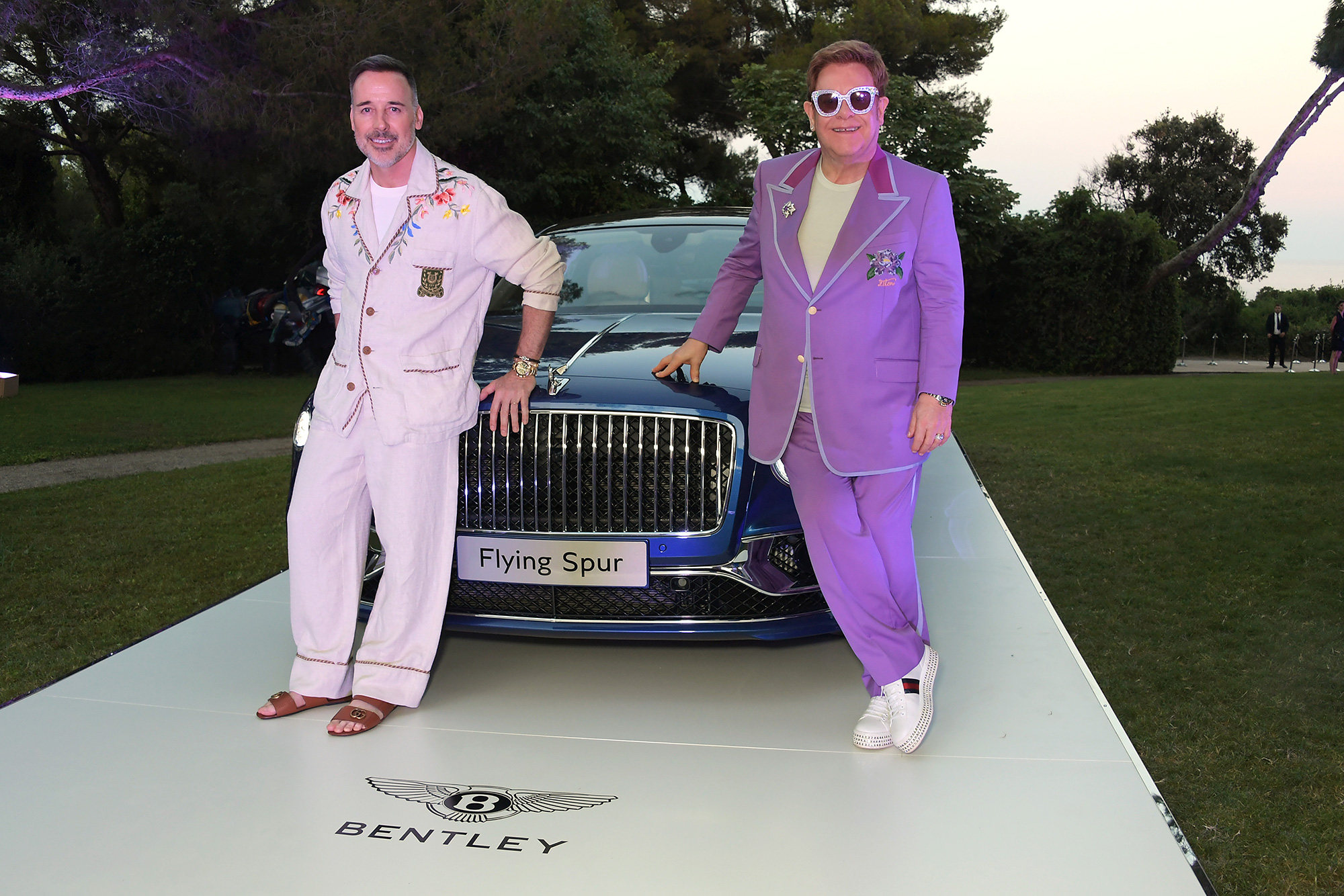 Elton John and David Furnish with the Bentley Flying Spur First Edition