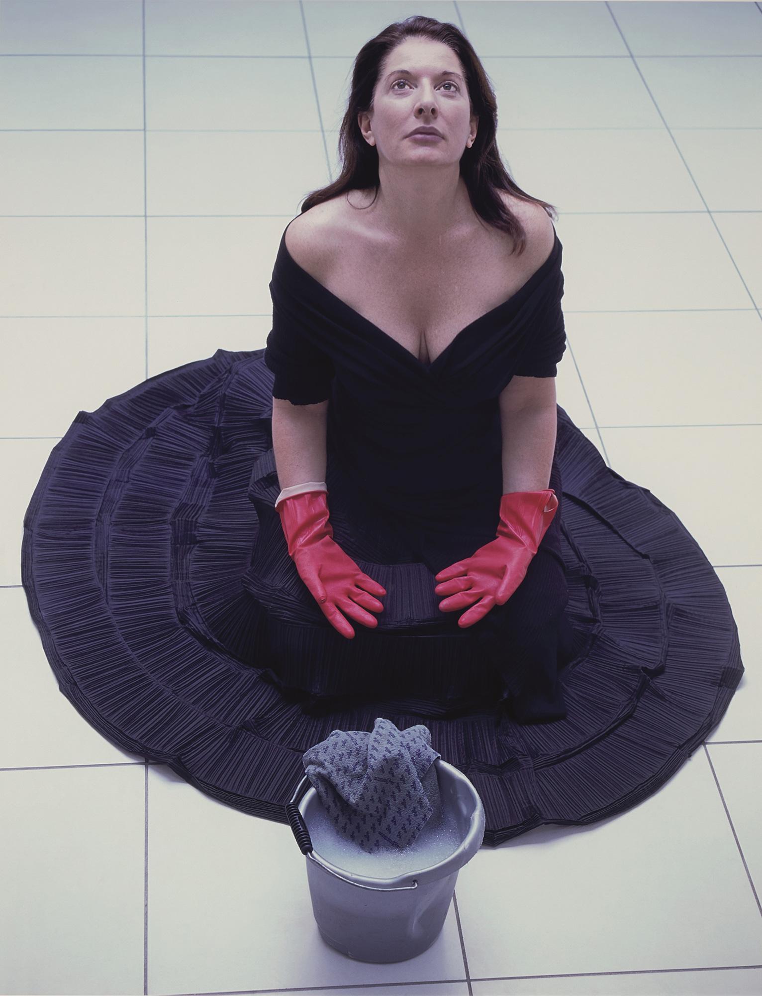 Marina Abramović, Cleaning the Floor, 2004, Courtesy of the Marina Abramović Archives