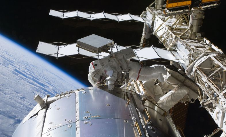 Astronaut Nicole Stott, Expedition 20 flight engineer, participates in the STS-128 mission's first session of extravehicular activity as construction and maintenance continue on the International Space Station. Image courtesy of NASA