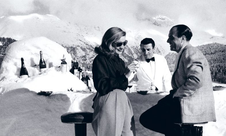 Midday cocktails at a St Moritz snow bar