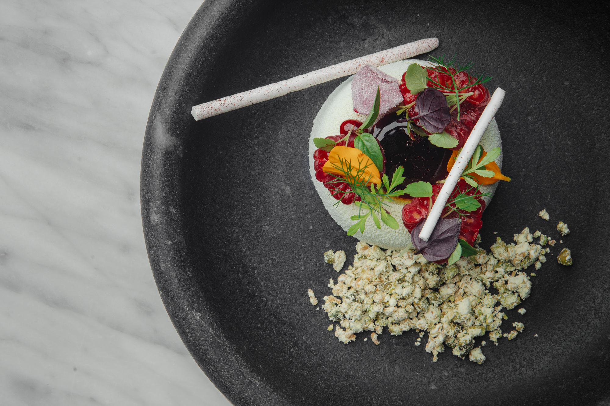 Sorrel ice cream, raspberries, pistachio at Da Terra