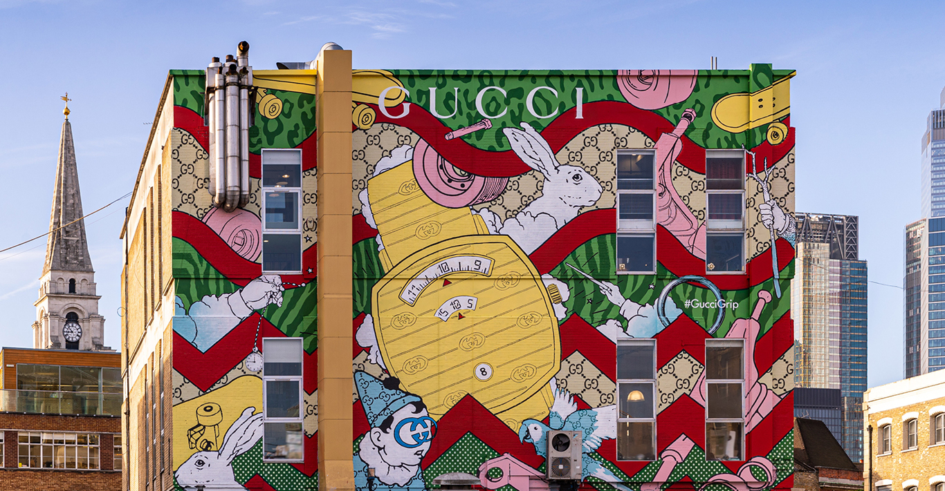 The whimsical Gucci Art Wall project in east London