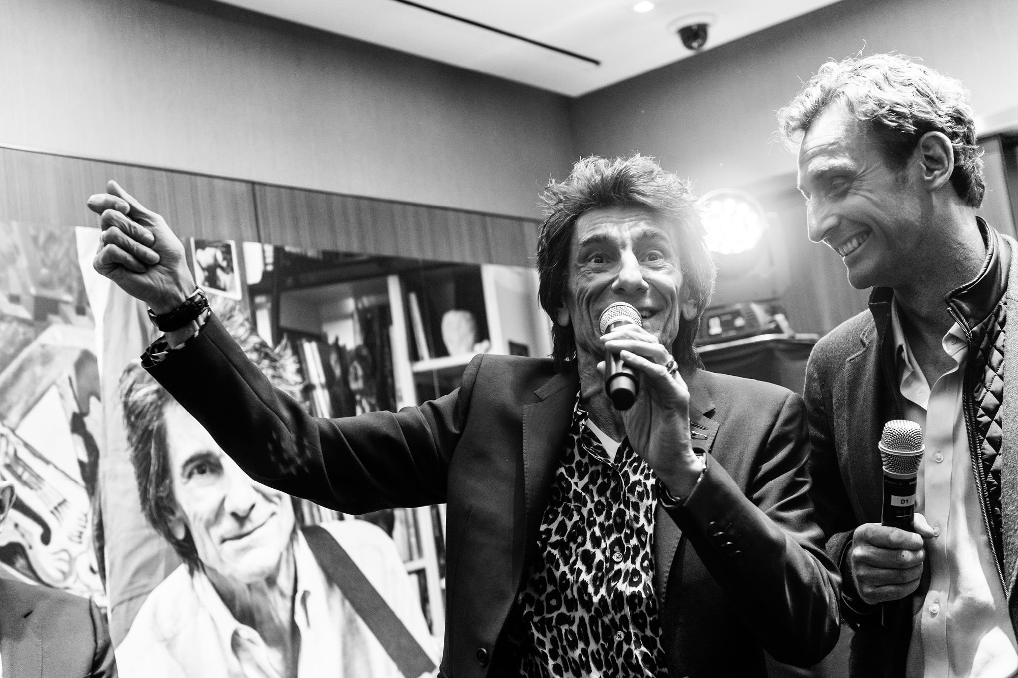 Ronnie Wood at the launch event with Nick English, co-founder of Bremont
