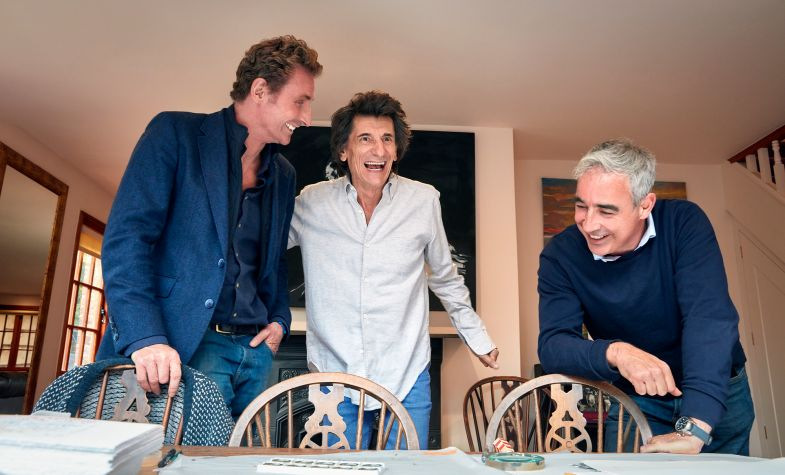 Ronnie Wood with Bremont Brothers Nick and Giles