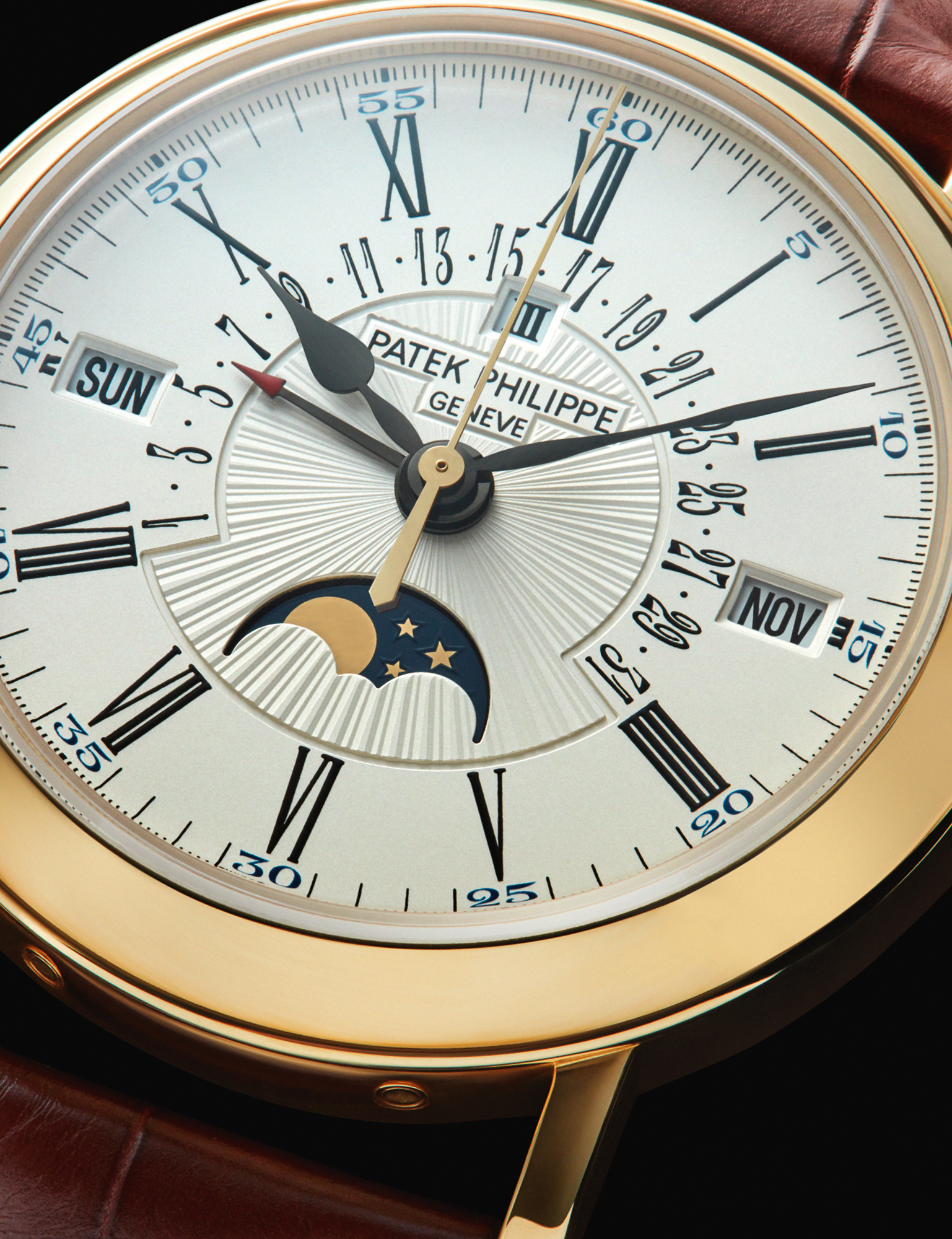 Able to accommodate months with 31, 30 and 28 days, plus February 29 in leap years, Patek Philippe's Mens Ref. 5159J-001 Perpetual Calendar features an opaline-white dial with hand-guilloched centre. £73,620, PATEK PHILIPPE