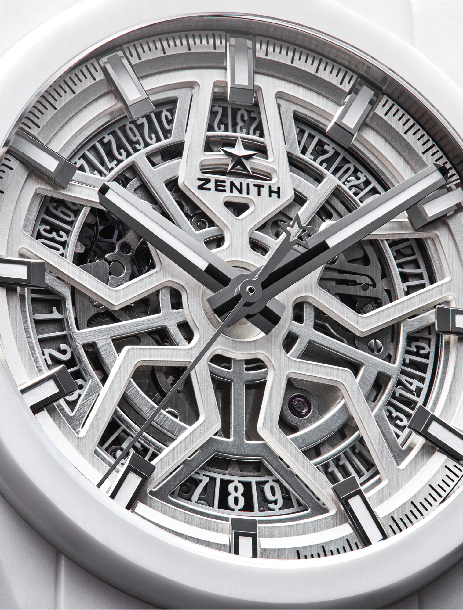 The 41mm Defy Classic White Ceramic features a skeleton dial with white hands, baton hour markers and a date display at six o'clock. Its display of micro-mechanics is powered by an automatic, Elite 670 SK movement. £6,100, ZENITH