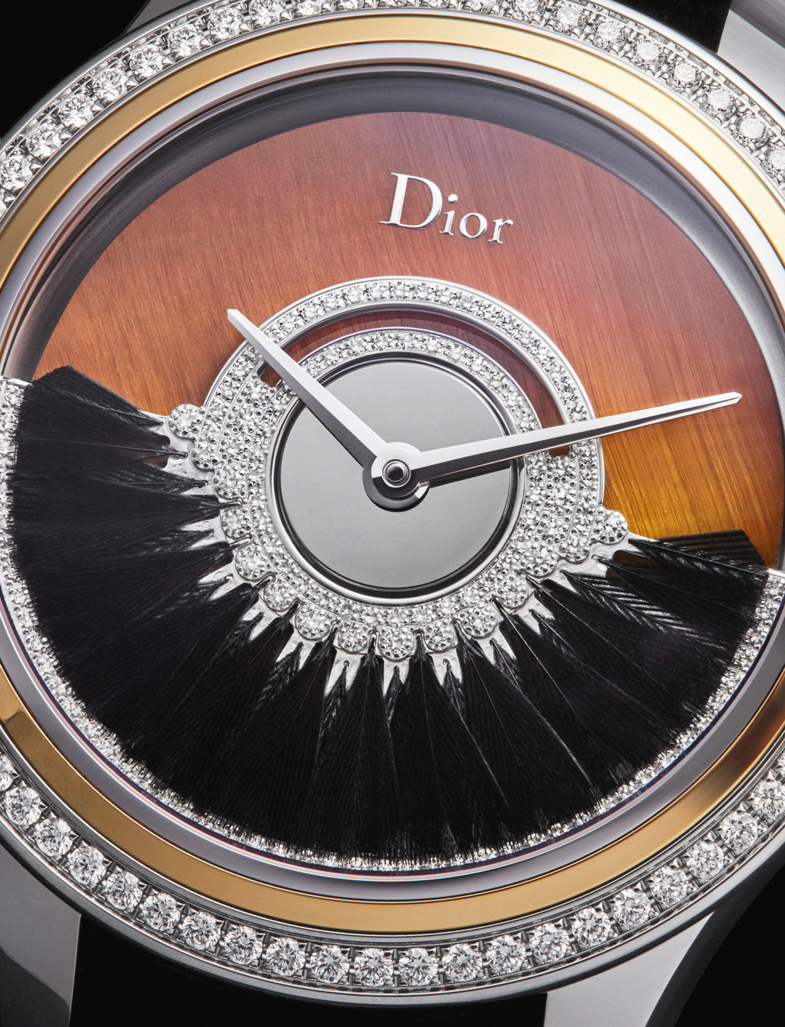 Dior's 36mm Grand Bal Plume has an automatic movement featuring black feathers set on an oscillating weight recreating the swirl of a ball gown. It features a tiger's eye stone dial with diamonds and is limited to 88 pieces. £23,600, DIOR