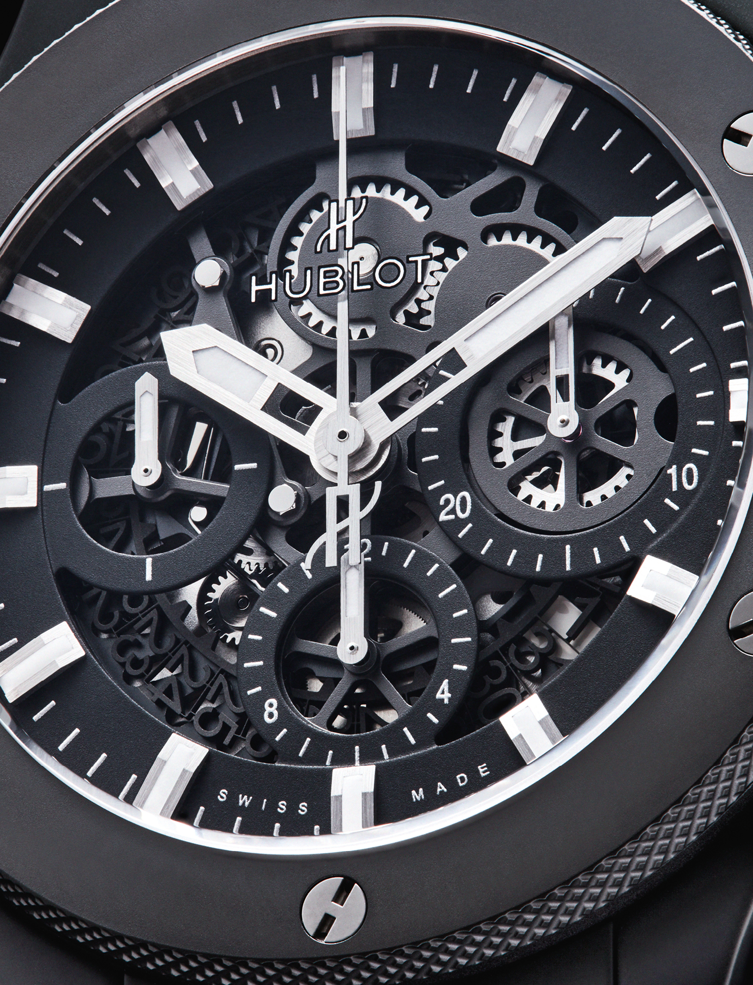 With a matte black skeleton dial, the Hublot Big Bang Aerobang Black Magic features a micro-blasted black ceramic case and bezel, a HUB4214 movement and is available on a black rubber and gummy alligator strap. £16,800, HUBLOT