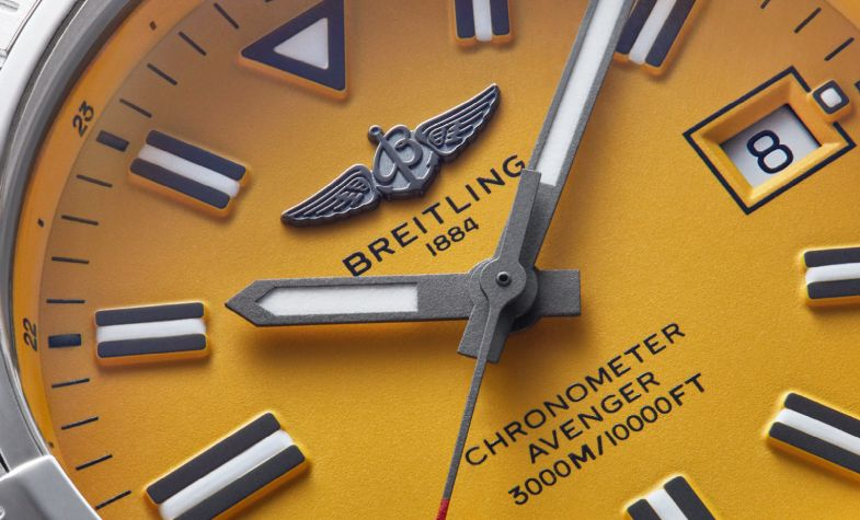 Designed for airborne and underwater adventures, Breitling's new Avenger Automatic 45 Seawolf model is water resistant to 3,000m and features a steel case with a striking yellow dial. £3,200, BREITLING