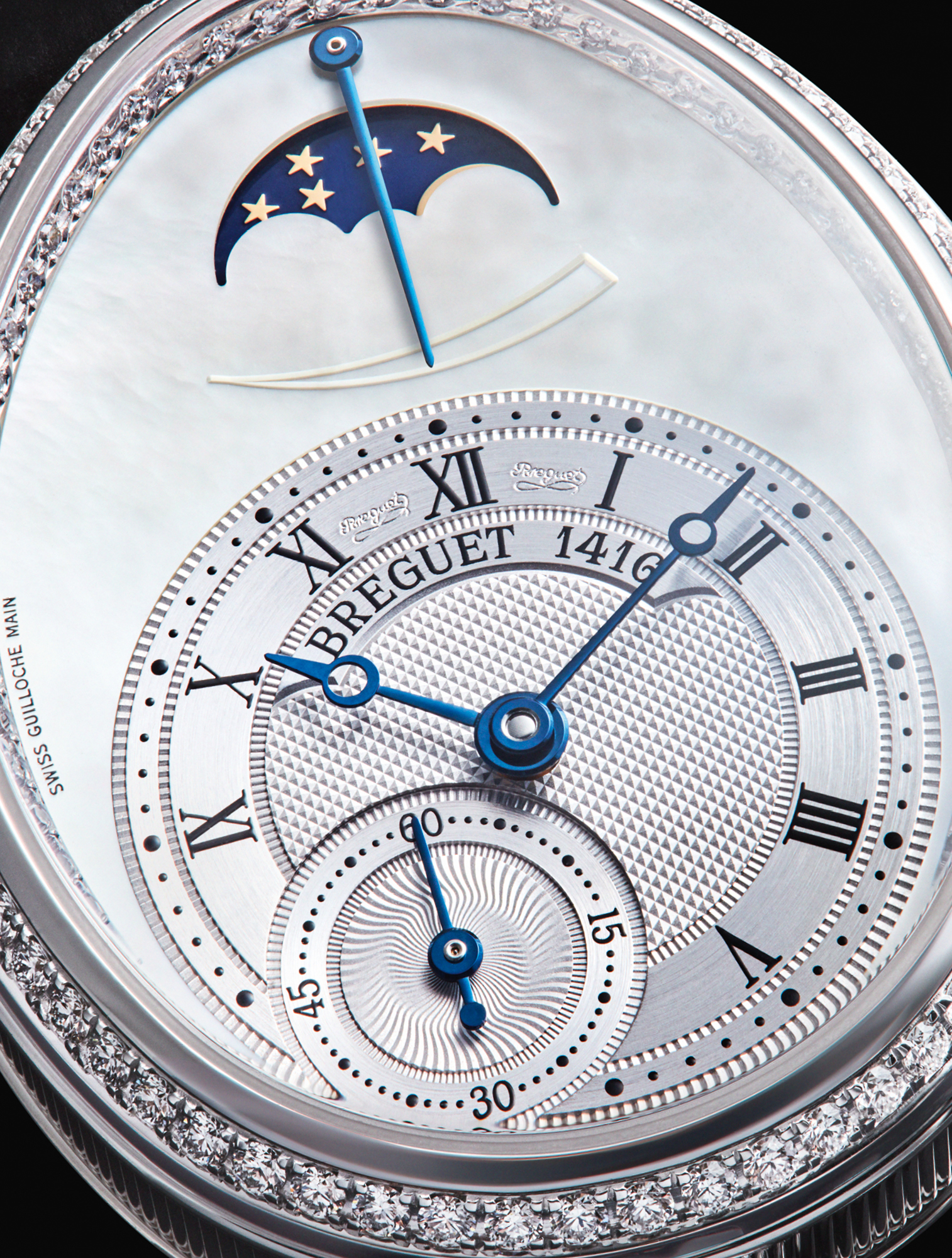Distinguished by an 18ct white gold case set with 128 diamonds, Breguet's Reine de Naples 8908 wristwatch references the original model and displays a number of beautiful guilloché techniques. £29,900, BREGUET