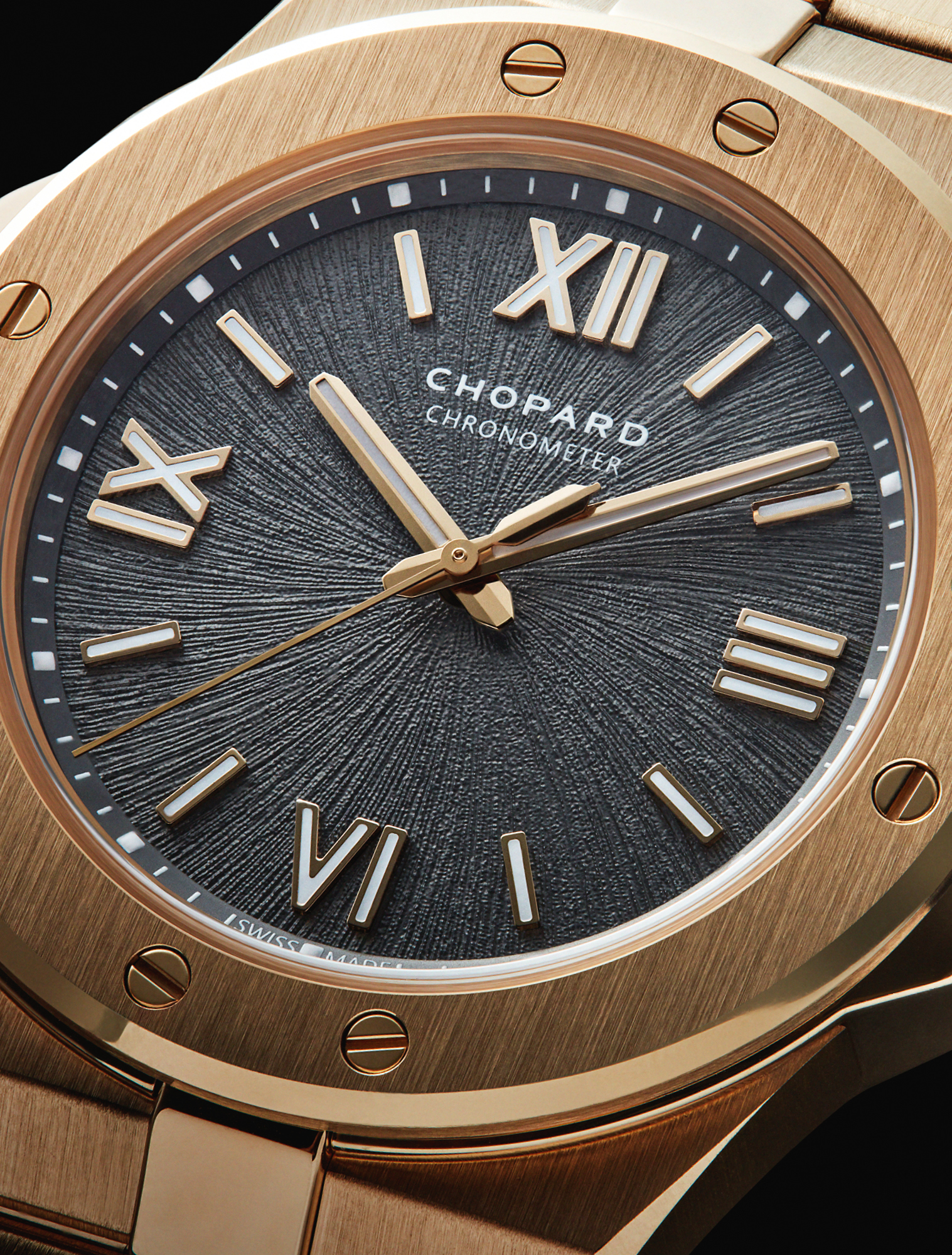 Inspired by the majesty of the Alps and the beauty of the white-tailed eagle, Chopard's 36mm 18ct rose gold watch from the new Alpine Eagle collection features a textured bernina grey dial evoking an eagle's iris. £POA, CHOPARD