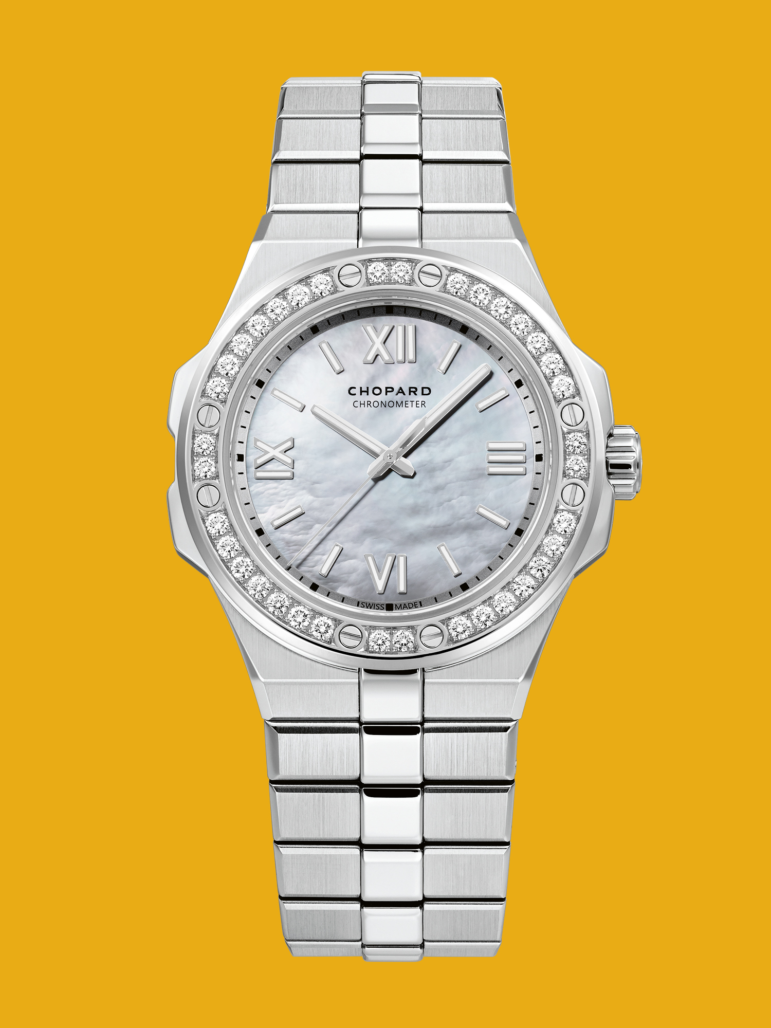 Alpine Eagle 36mm White Mother of Peal Dial & Diamond Set Ladies Watch