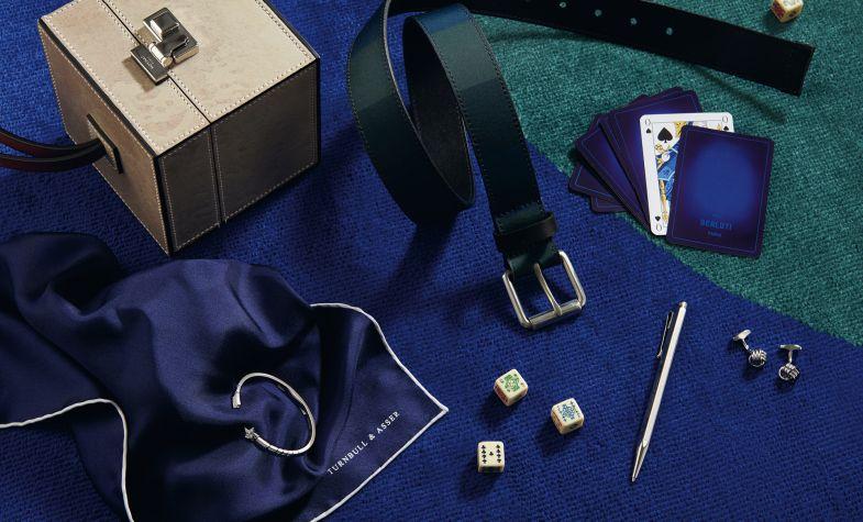 Clockwise, from top left: Mini Vanity Case, £6,250, MOYNAT; Leather Belt, £90, PAUL SMITH; Card Pack, £530, BERLUTI; Cufflinks, £129, TATEOSSIAN; Ballpoint Pen, £110, CARAN D'ACHE; Silk Pocket Square, £64, TURNBULL & ASSER; Comete 18ct White Gold and Diamond Bracelet, £10,250, CHANEL FINE JEWELLERY