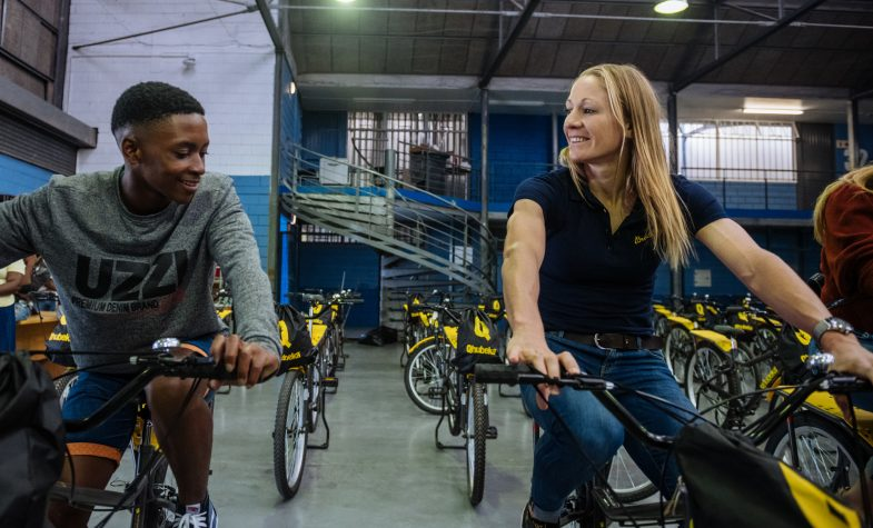 Daniela Ryf, part of Breitling Triathlon Squad, engaging with the local communities