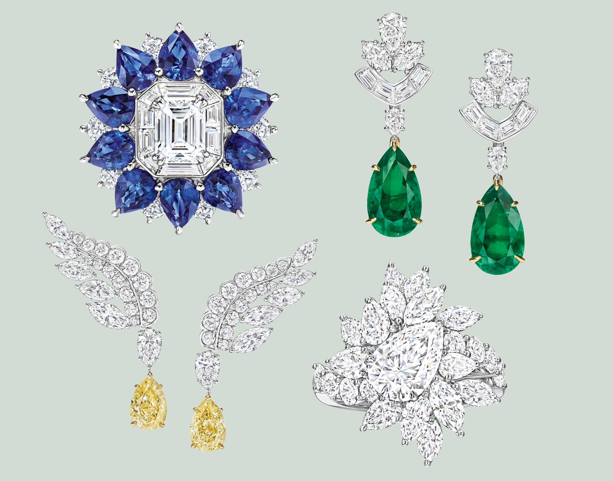 Clockwise from top left Marble Marquetry ring; Cathedral Earrings; Chandelier ring; Eagle earrings
