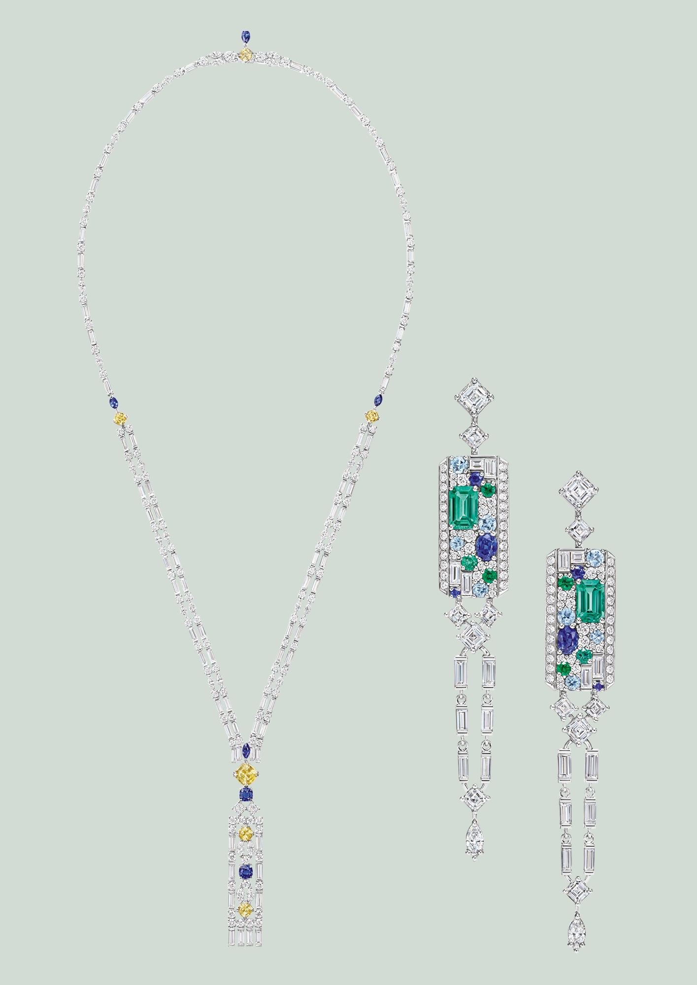 From left Brownstone necklace in sapphire; Central Park Mosaic earrings