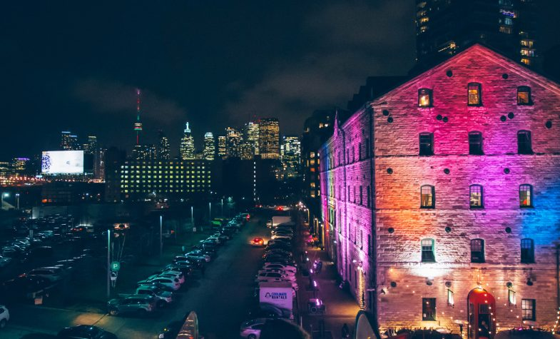 Toronto from the Distillery District at night