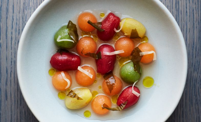 Tomato and melon salad, seaweed & pickled ginger broth at Allegra