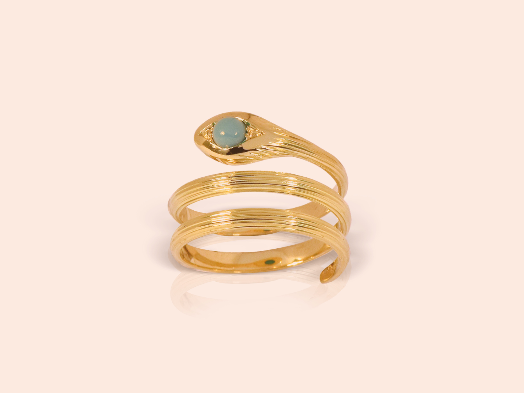 Lalaounis Snake ring in 18K gold with turquoise stone